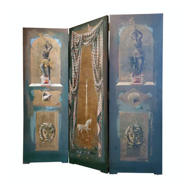Rare Pierre-Adrien PA Ekman Hand Painted Folding Screen Wooden Panel Room Divider from Mid-Century Nice, France - Trompe L'oeil Neoclassical by LynxHollowAntiques
