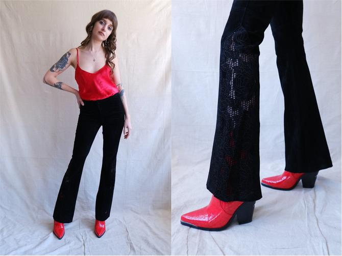 Vintage Y2K Suede Cut Out Rose Flares/ Mid Rise Black Leather Pants/ Size Small by bottleofbread