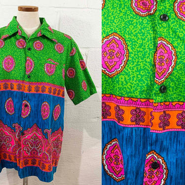 Vintage Hawaiian Shirt Malihini Button Up DayGlo Hawaii Summer Short Sleeve Blouse Resortware Cruise Vacation Beach Cabanaware XL Plus XXL by CheckEngineVintage