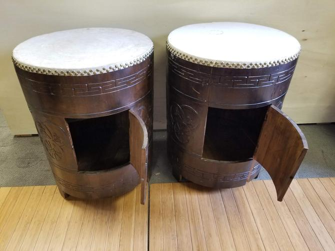 Pair of Drum Side Tables
