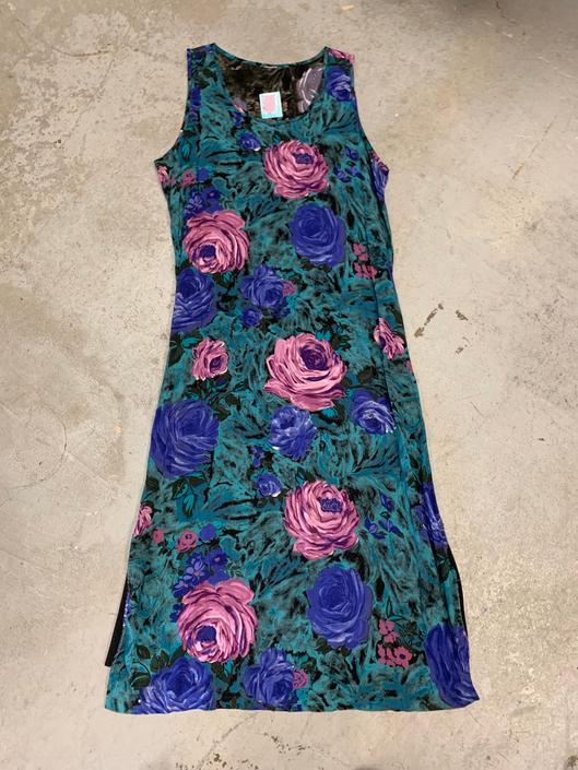 Rayon Printed Dress Vintage 1990s Women's Long Rayon Dress by purevintageclothing