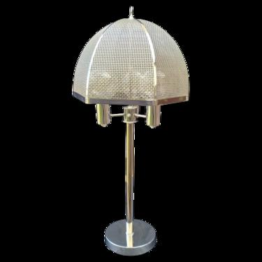 Mid-Century Modern Chrome Lamp with Cane Style Shade Rendered in Chrome by Clover Lamp Company