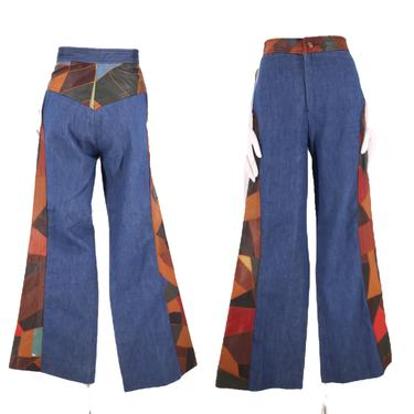 70s AURA patchwork high waisted denim bell bottoms jeans 29  / vintage 1970s leather appliqué denim flares pants M by ritualvintage