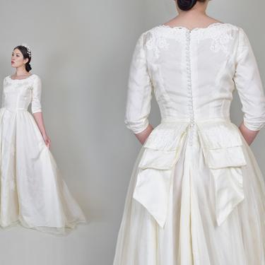 1950's Ivory Silk Organza Wedding Dress   1950's Button Back Wedding Dress with Bustle by WisdomVintage