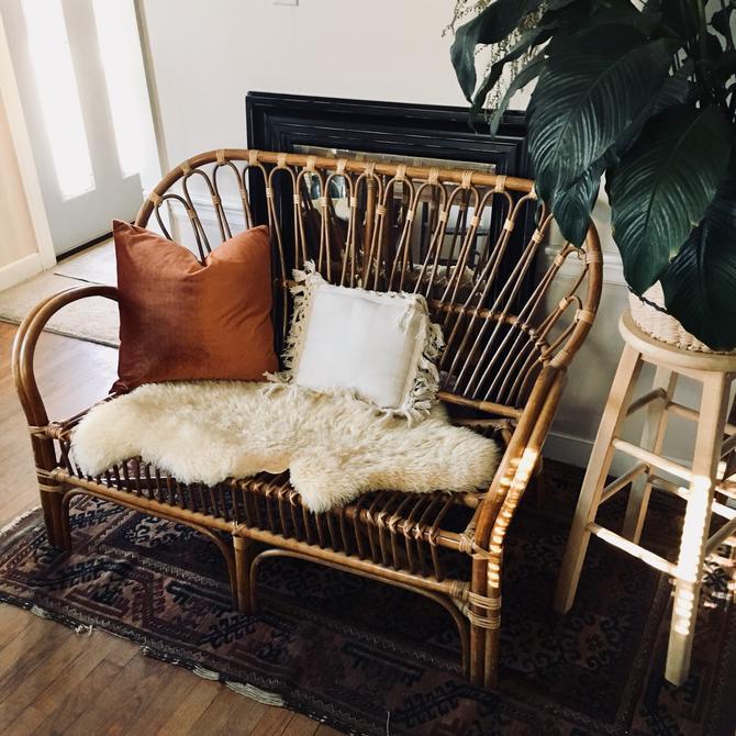 Franco Albini Style Rattan Settee, Rattan Loveseat, Rattan Sofa, Bamboo Settee, Bamboo Loveseat, Rattan Furniture, Bohemian Settee by VintageandSwoon