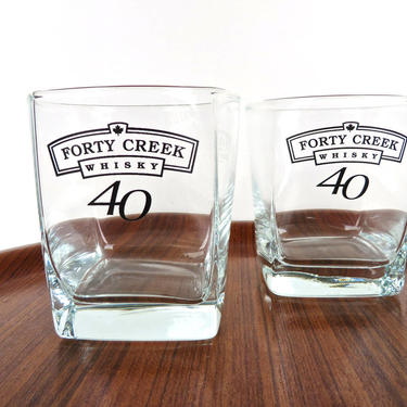 Set of 2 Forty Creek Whisky Glasses, Square Glass 40 Creek Canadian Whisky Rocks Glasses, Vintage Whiskey Lowball by HerVintageCrush