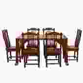 Chinese Yellowish Brown Rosewood Rectangular Dining Table Set 6 Chairs cs4887S