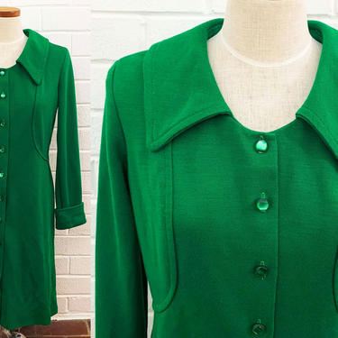 Vintage Deep Green Floral Dress A-Line Kelly Emerald Plastic Buttons Mod MCM 1960s 60s Design Long Sleeve Shirtdress Large Medium by CheckEngineVintage