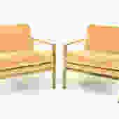 Milo Baughman Style Brass Flatbar Lounge Chairs