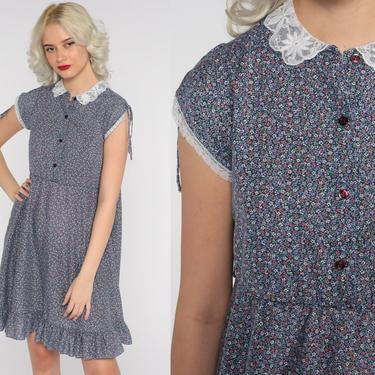 80s Floral Dress LACE COLLAR Dress Calico Mini Boho Dress High Waisted Bohemian Dress Vintage Button Up Blue Purple Cap sleeve Small by ShopExile