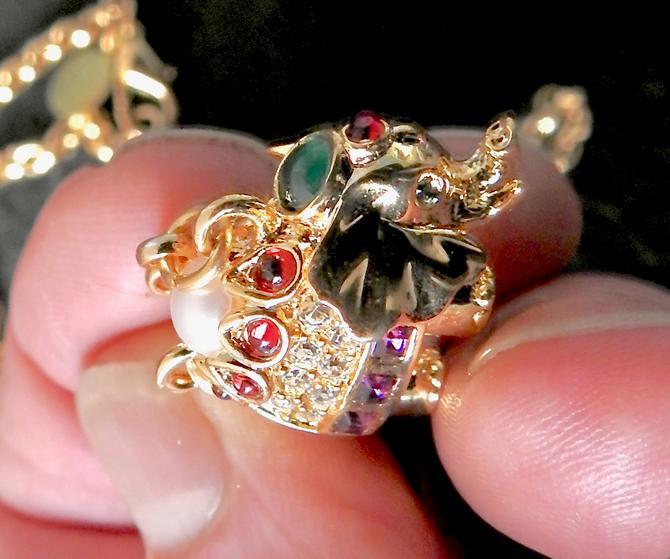 Joan Rivers Bejeweled  Elephant Charm Trunk Up Necklace by LegendaryBeast