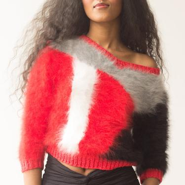 1980s Abstract Knit Angora Sweater by waywardcollection