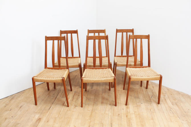 Danish Modern Mid Century Dining Chairs Cord Rope Scandinavian Set of Six 6 by 330ModernAntique