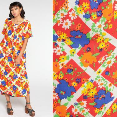 Floral Maxi Dress Caftan 70s Hippie Flower Power Print Kaftan Boho Ten Bright Psychedelic Dress Bohemian Vintage Festival Retro Medium Large by ShopExile