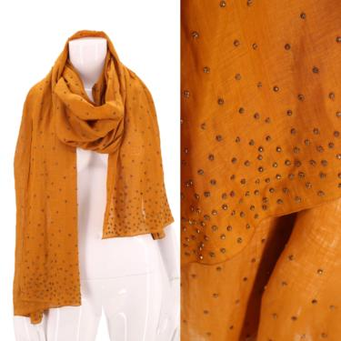 90s DONNA KARAN studded linen scarf shawl wrap / vintage 1990s DK collection large scarf head wrap dkny by ritualvintage