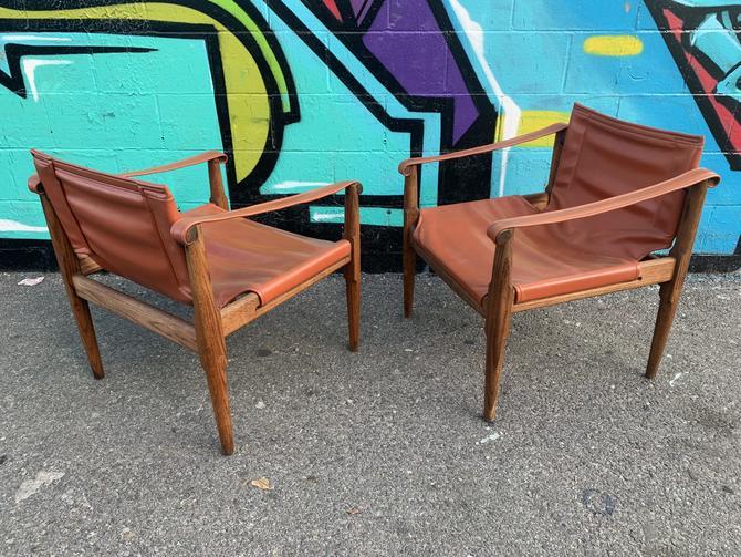 2 Vintage Safari Lounge Chairs