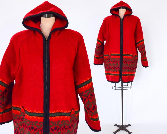 1980s Red Wool Car Coat  & Hood   80s Red Warm Heavy Coat   Woolrich   Large by GlennasVintageShop