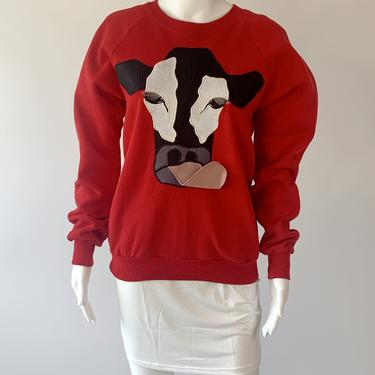 Wow! 1980's Red Sweatshirt w 3D Cow!