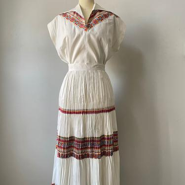 1950s Patio Set Cotton Printed Skirt Blouse M by dejavintageboutique