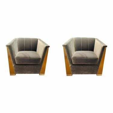 Caracole Modern Gray Velvet Vector Club Chairs Pair