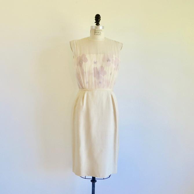 "Vintage 1950's Ivory Creme Silk Wiggle Dress Flowers Chiffon Sleeveless Sheath Style Bridal Wedding Party 28"" Waist Small Medium by seekcollect"