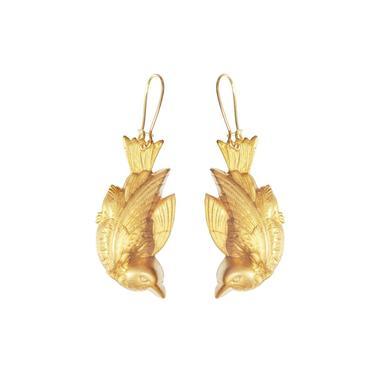 We Dream In Colour Gold Bird Earrings
