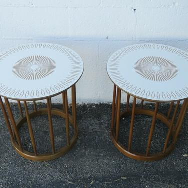 Mid Century Modern Pair of Round Side End Tables by Drexel 2325