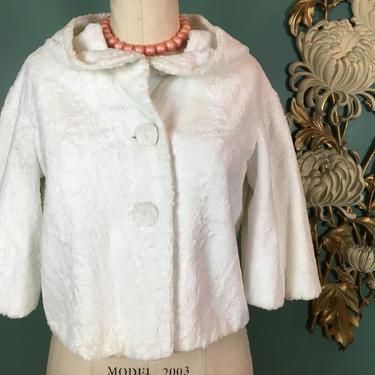 1960s cropped jacket, white faux fur, wedding jacket, 3/4 length sleeves, vintage 60s jacket, size medium, 34 36 bust, cropped white coat by BlackLabelVintageWA