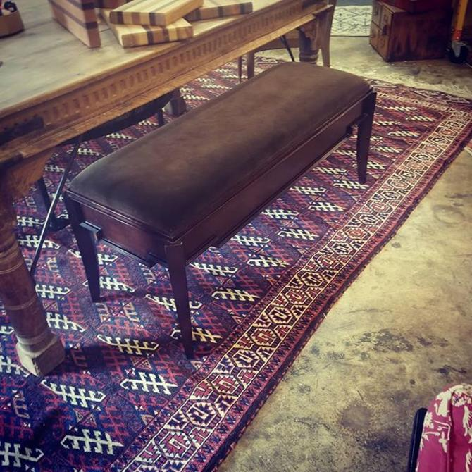 "Art Deco, velvet bench.46"" long 17"" deep 20"" tall"
