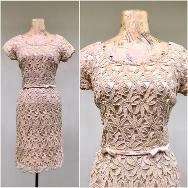 """Vintage 1960s Beige Lace Party Dress, 60s Cocktail Wiggle Dress, Special Occasion Frock, Small 34"""" Bust by RanchQueenVintage"""