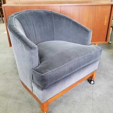 Mid-Century Modern barrel chair with new grey upholstery
