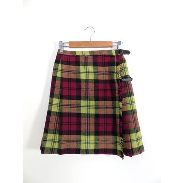 Vintage 60s Mod Pleated Wool Yellow And Burgundy Plaid School Girl Mini Skirt Wrap Skirt Made In USA Size XXS/XS by VelvetCastleVintage