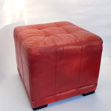 Square Ottoman Mid Century Modern Stitched Red Leather Padded Vintage Footstool Chair Living Room Furniture Low Profile Sofa Coffee Table by MakingMidCenturyMod