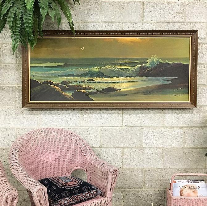 LOCAL PICKUP ONLY Vintage Robert Wood Golden Surf Print 1960s Retro Large Size 29x65 Rectangular Ocean + Beach Wall Art in Brown Wood Frame by RetrospectVintage215