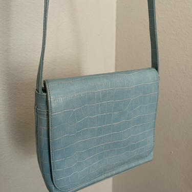 4) pastel baby blue faux alligator skin vegan leather square crossbody flap purse sky goth by GRACEandCATS