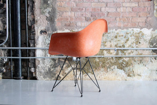 """Rare Color"" Eames Herman Miller Arm Shell Chair on Eiffel Base"