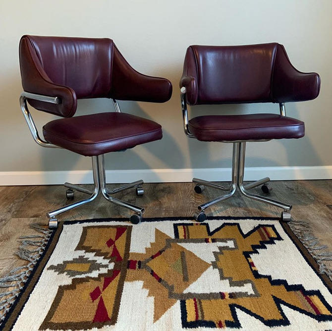 Set of 2 Vintage Mid Century Naugahyde Swivel Chairs by DesertCactusVintage