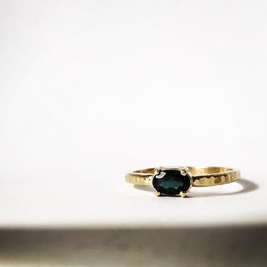 Notched Oval Sapphire in 14k Brushed Gold Ring by RachelPfefferDesigns