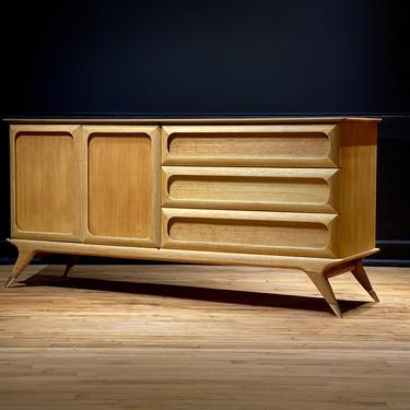 Restored Mid Century Modern Vladimir Kagan Style Solid Oak 6 Drawer Dresser Credenza Sideboard Brass Legs MCM Danish Atomic Style Furniture by MidMod414