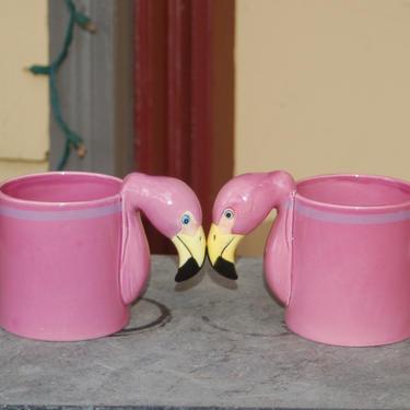 Pair (2) Pink Flamingo Bergschrund Seattle 1986 Figural Hand-Painted 12oz Coffee ~ Tea Cup /Mug ~ Florida ~ Tchotchkes ~ Beautiful Tackiness by YesterdayAndTomorrow