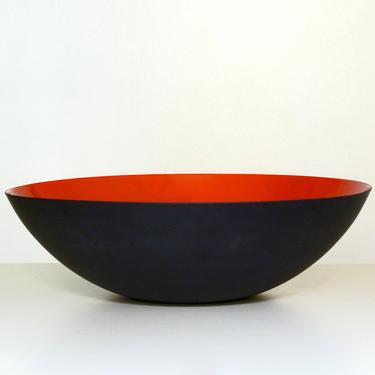 Krenit MCM Bowl 38cm Matte Black and Orange Red Enamel - Herbert Krenchel - Danish Modern - Vintage Enamelware by FlyTimesVintage