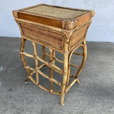 Restored Bamboo and Wicker Trunk on Stand with Build in Tray by HarveysonBeverly