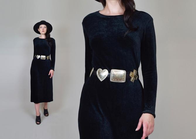 90's Witchy Black Velvet Dress   Vintage Velvet Gap Dress by WisdomVintage