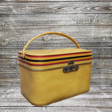 Vintage Amelia Earhart Stripes Train Case, Overnight Travel Case w/ Mirror, Yellow Suitcase Carry On, Mid Century Modern, Vintage Luggage by AGoGoVintage