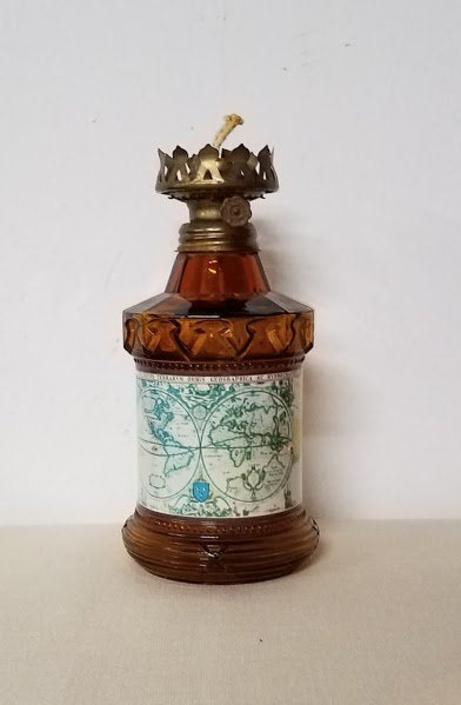 Vintage Hong Kong Amber Glass and Old Map Oil Lamp by OverTheYearsFinds