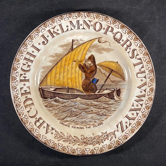 Staffordshire ABC Plate Robinson Crusoe Viewing the Island Transferware Alphabet Reading Teaching by accokeekpickers