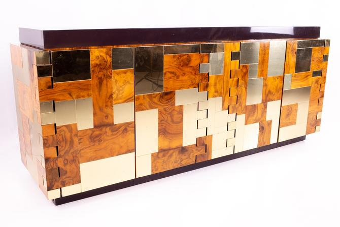 Paul Evans Mid Century Brass and Burlwood Brutalist Sideboard Buffet Credenza by ModernHill