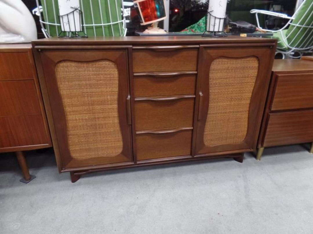 Mid Century Modern Walnut Credenza With Cane Accent From
