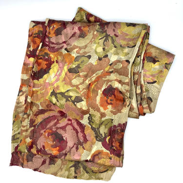 Antique 1920s Floral Scarf, Art Deco Stole, 20s Flapper Shawl, Silk Jacquard, 10' Length by RanchQueenVintage