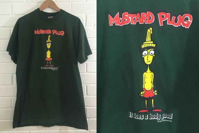 Vintage Mustard Plug Band Tee Ska Punk T-Shirt 90s 1990s 1996 USA Short Sleeve Green Hipster Retro Large L XL Grand Rapids Michigan by CheckEngineVintage